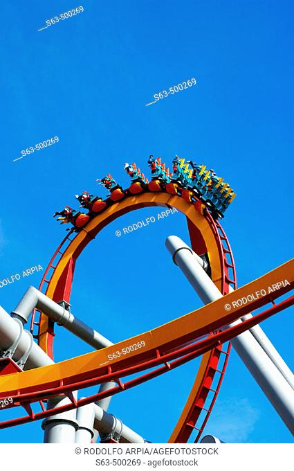 Riders on rollercoaster ride, Knott's Berry Farm, California