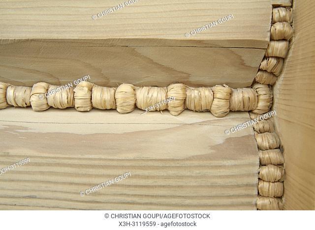 construction de maison en bois avec assemblage et joint traditionnels, Zakopane, region Podhale, Massif des Tatras, Province Malopolska (Petite Pologne)