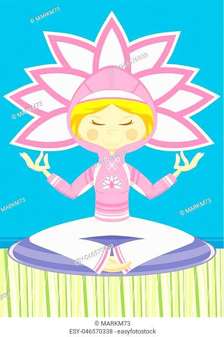 Cartoon Yoga Girl wearing Hooded Top Vector Illustration