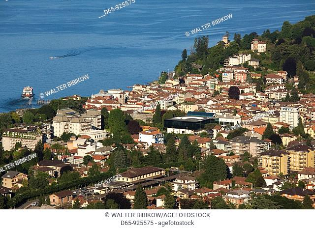 Italy, Piedmont, Lake Maggiore, Stresa, high angle town view