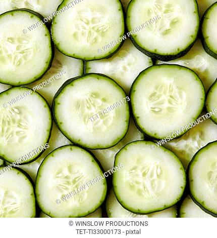 Close-up view of cucumber slices