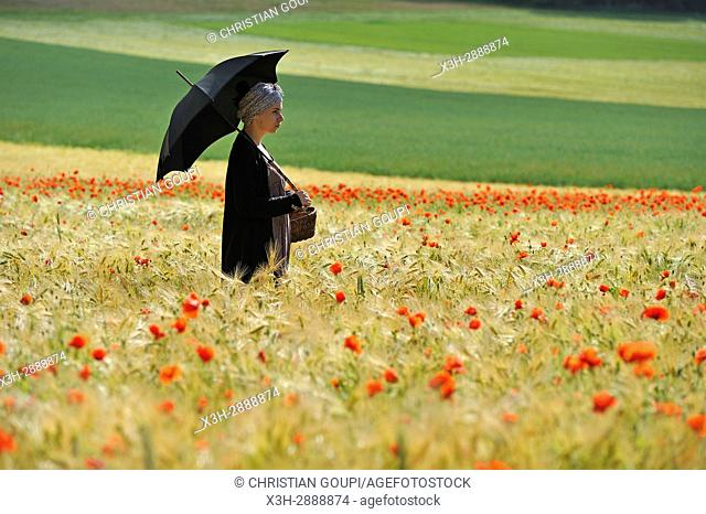young woman with sunshade in a cereal field dotted with poppies, France, Europe