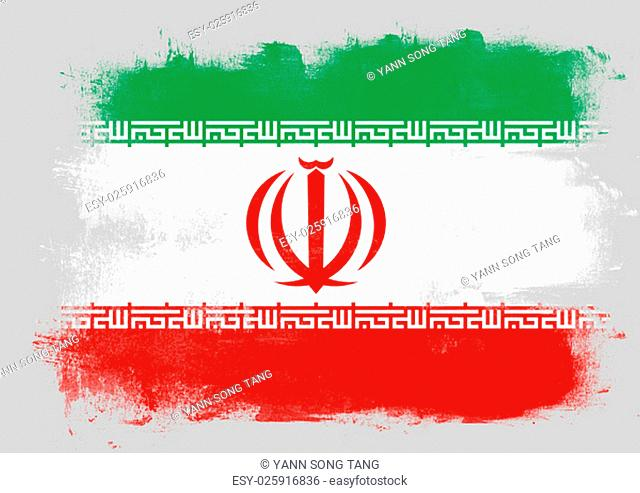 Flag of Iran painted with brush on solid background