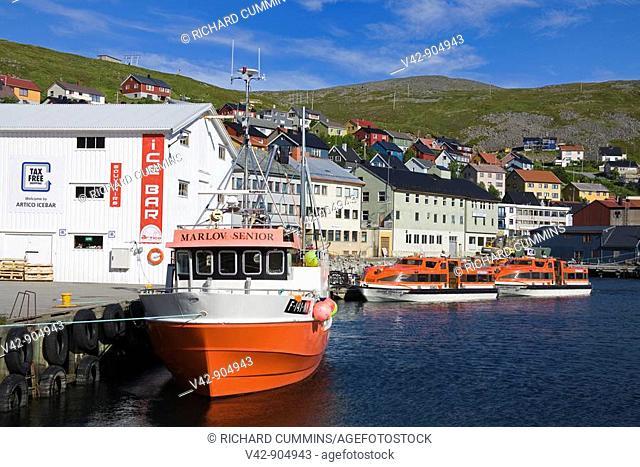 Fishing Boats, Honningsvag Port, Mageroya Island, Finnmark Region, Arctic Ocean, Norway, Scandinavia