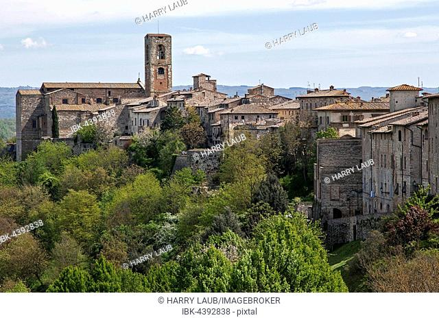 Houses of the upper town of Colle Alta Church Concattedrale dei Santi Alberto e Marziale, Colle di Val d'Elsa, Tuscany, Italy