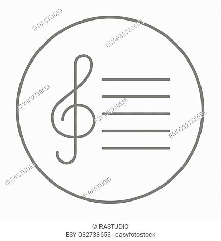 Treble clef line icon for web, mobile and infographics. Vector grey thin line icon in the circle isolated on white background