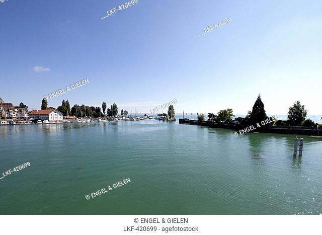 View of the harbor and Romanshorn, Romanshorn, Lake Constance, Baden-Wuerttemberg, Germany