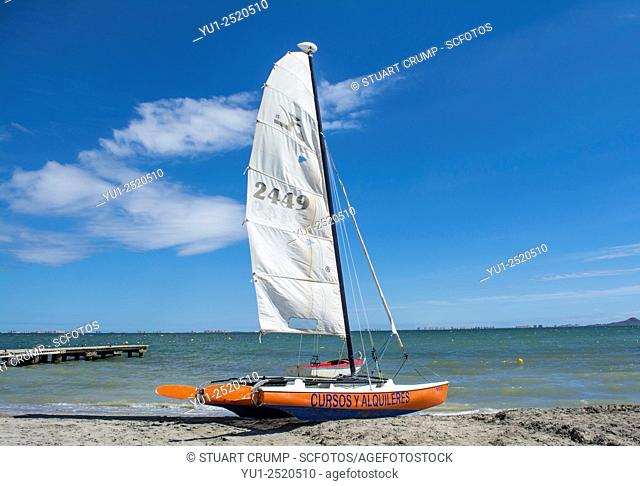 A Catamaran on the beach at Los Alcazares, Murcia, Spain