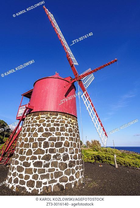 Traditional Windmill in Ponta Rasa near Sao Joao, Pico Island, Azores, Portugal