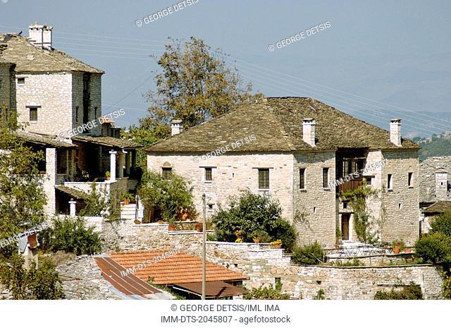 View of the guest house, 'To Archontiko Tis Aristis' in Aristi village. Ioannina, Epiros, Greece, Europe