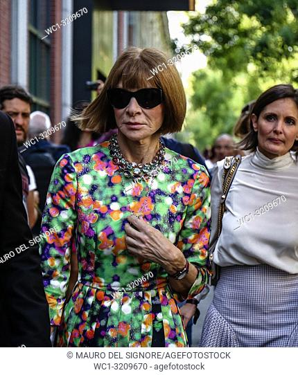 MILAN, Italy- September 20 2018: Anna Wintour on the street during the Milan Fashion Week