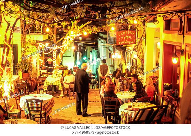 Plaka's district. Tavern O Repoc Toy Mwpia.The oldest greek tavern of Plaka. In Mnisikleous, 27, Athens, Greece, Europe