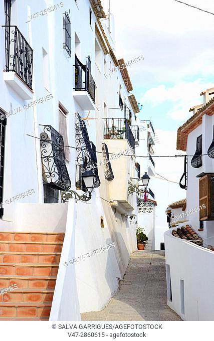 Street of typical white houses of the old town of Altea, Alicante, Valencia, Spain, Europe