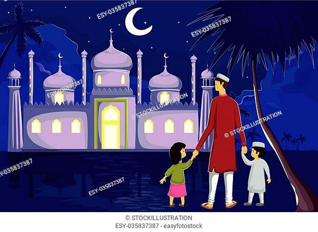 Muslim family watching moon of Eid in vector