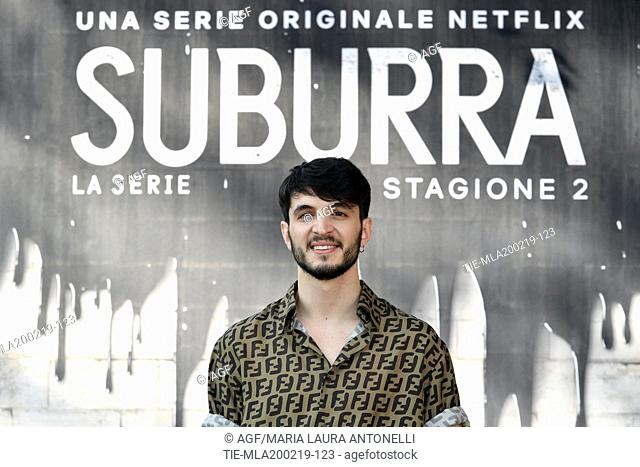 Giacomo Ferrara during photocall of the second season of Italian fiction 'Suburra', Rome 20-02-2019