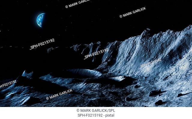 Earth viewed from the Moon, illustration