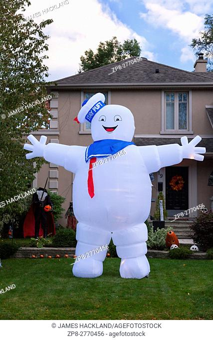 An inflated Stay Puft Marshmallow Man decoration in Toronto, Ontario, Canada