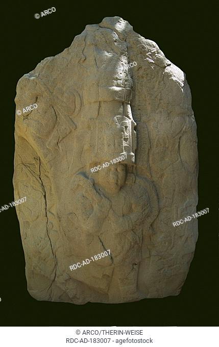 Stele of the King, Olmec sculpture, Parc Museum La Venta, Villahermosa, Tabasco, Mexico