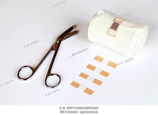 Bandage scissors, plasters and bandage