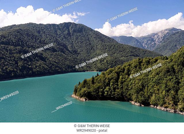 Caucasus Mountains and Jari water reservoir, Svaneti region, Georgia, Caucasus, Asia
