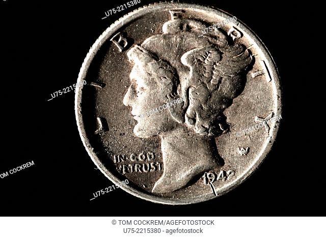 US 1942 Mercury dime coin in studio setting