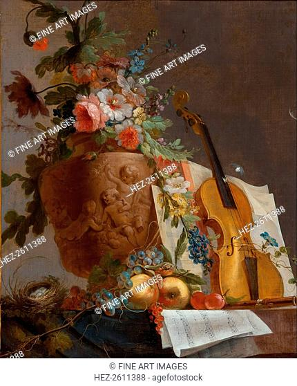 Still life with flowers and a violin, c. 1750. Artist: Bachelier, Jean-Jacques (1724-1806)