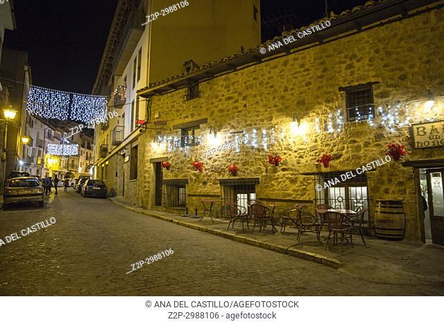 Christmas lights in Mora de Rubielos village Teruel Aragon Spain