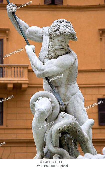 Italy, Rome, Piazza Navona, Neptune Fountain