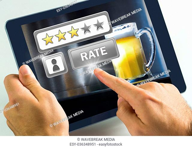 Hand touching tablet with Rate button and review stars in bar