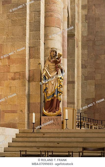Speyer, Kaiserdom / cathedral, UNESCO World Heritage Site, Plastik Salve Regina, ecclesiastical figure in the altar area