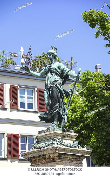 Lindau am Bodensee, Bavaria, Germany - Sculpture of an allegorical figure on the Lindavia fountain on Reichsplatz