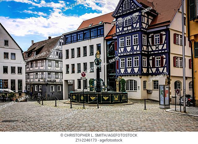 The town Square and fountain in picturesque Nurtingen Germany