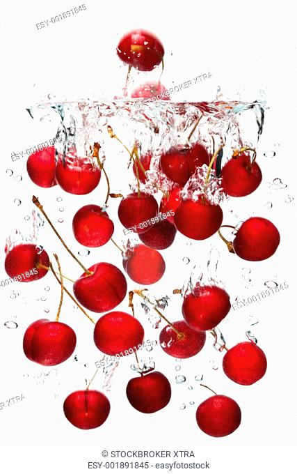 Photo of red cherries falling into water with a white background