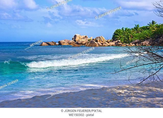 Beach of the Seychelles, Island La Digue, Beach Anse Cocos