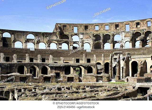 The inside view of Colosseum or Coliseum, also known as the Flavian Amphitheatre, Rome, Italy