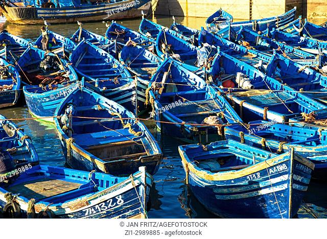 famous blue wooden boats in harbour of Essaouira, Maroc