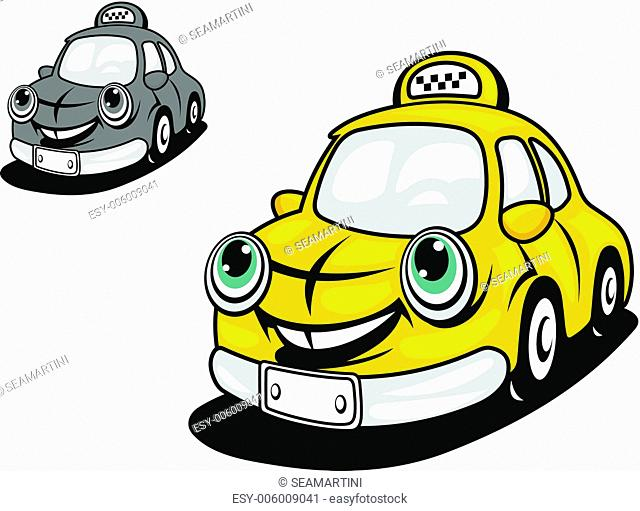 Cartoon yellow taxi with smile for transportation design