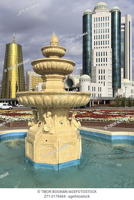 Kazakhstan; Astana, Ministries, fountain, Senate,
