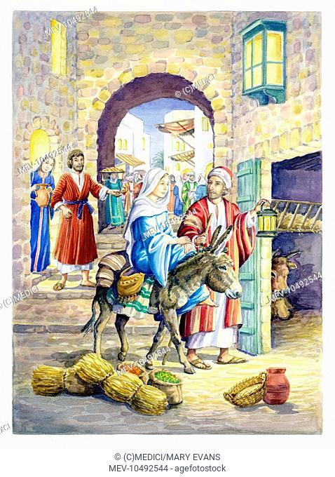 Courtyard of the Inn - with Mary on a Donkey and Joseph entering