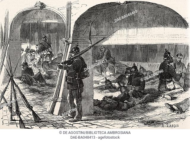 Prussian camp under the arcades of the main square in Pont-a-Mousson, France, Franco-Prussian war, illustration by A Lancon from L'Illustration