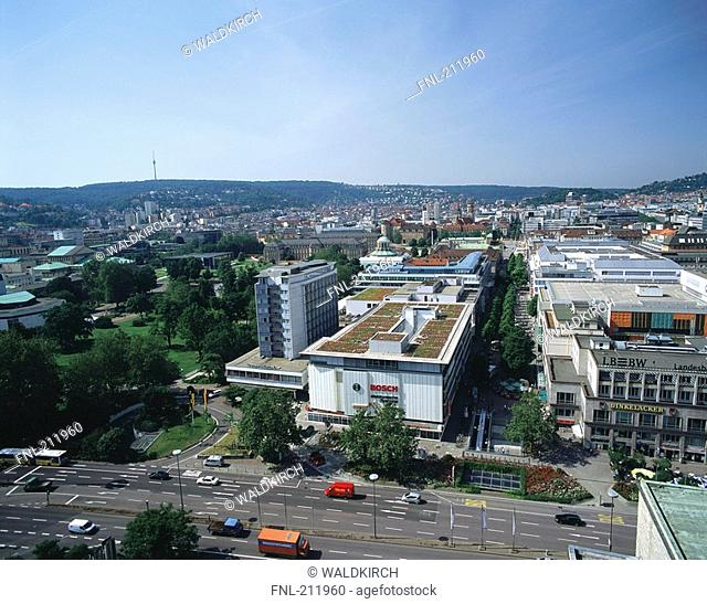 Aerial view of traffic on road in city, Koenigsstrasse, Stuttgart, Germany