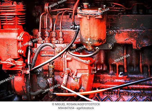 Details of the engine explosion of a classic farm tractor in the area of El Pablo, in the municipality of Bahia Honda in the province of Pinar del Rio
