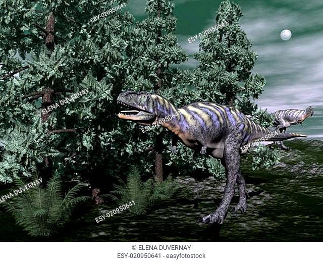 Aucasaurus dinosaur running - 3D render