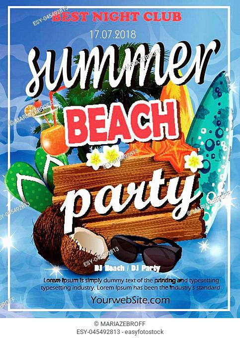Vector Summer Beach Party Flyer Design with typographic elements on wood texture background.vector illustration