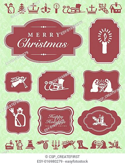 Vector Christmas Ornaments and Frame Set