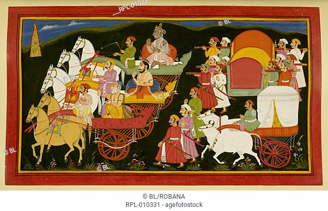 Royal visitors return to the palace, Dasaratha, Vasishta, Rishyasringa, his wife and the queens return to the palace after the ceremony to obtain sons