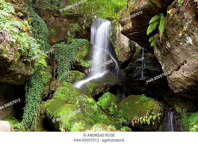 Lichtenhainer waterfall, Kirnitzschtal, Saxon Switzerland, Elbe Sandstone Mountains, Saxony, Germany, Europe