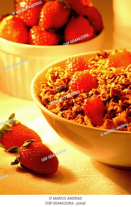 cereal bowl with strawberries for breakfast