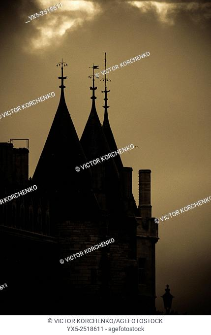 Stormy skies. Dark tower