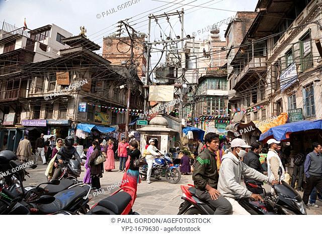 Street scene in Thamel along Hanuman Dhoka Road - Kathmandu, Bagmati Zone, Kathmandu Valley, Nepal